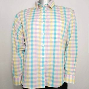 Vintage Fox Collection Shirt Pastel Plaid Button